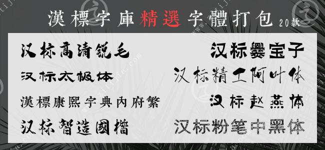 漢標字庫精選20款字體打包